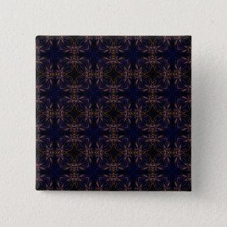 Blue Retro Fractal Pattern Pinback Button
