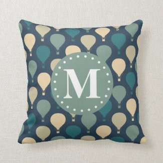 Blue Retro Hot Air Balloon Pattern Monogram Throw Pillow