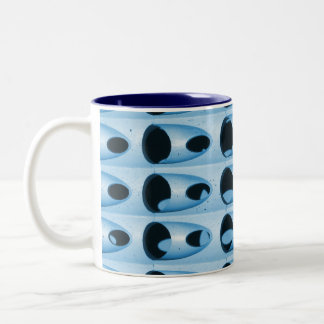 blue retro metal Two-Tone coffee mug