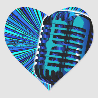Blue Retro Microphone Heart Sticker