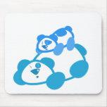 Blue Retro Panda Bear & Cub Mousepad
