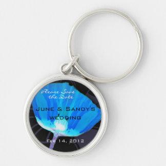 Blue Retro Poppy Keychain
