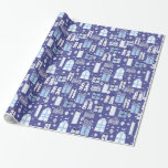 """Blue Retro Presents Hanukkah Wrapping Paper<br><div class=""""desc"""">Blue Retro Presents Hanukkah  Wrapping Paper. Check out our full collection of holiday gifts and goodies in our store La Bebba Designs!</div>"""