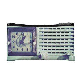 Blue Retro Radio Cosmetic Bag