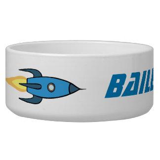 Blue Retro Rocket Ship Cute Cartoon Personalized Bowl
