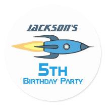 Blue Retro Rocket Ship Personalized Birthday Boy Classic Round Sticker