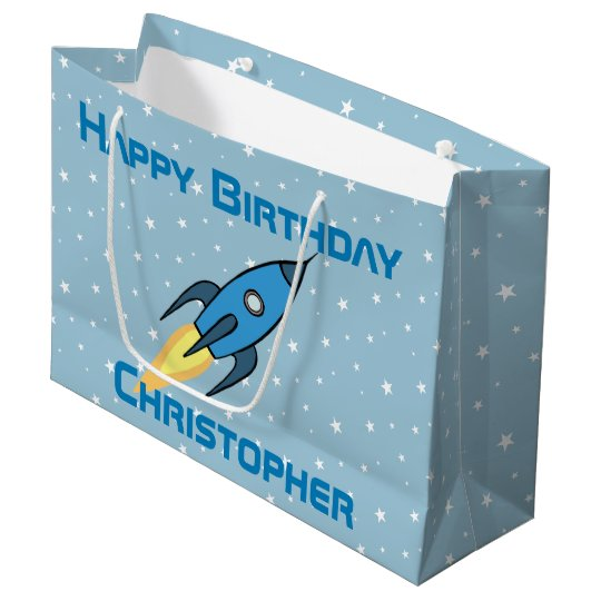 Blue Retro Rocket Ship Personalized Birthday Boy Large Gift Bag