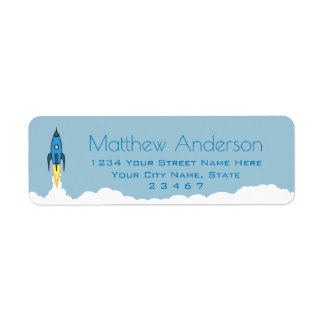 Blue Retro Rocket Ship Personalized Name Kids Boy Label