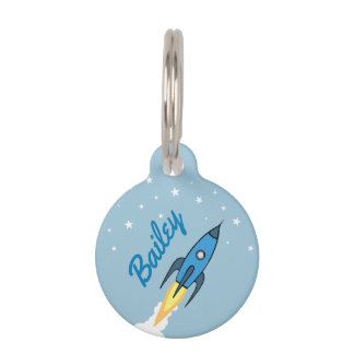Blue Retro Rocket Ship & Stars Cute Outer Space Pet Name Tag