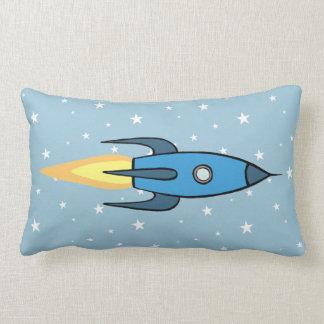 Blue Retro Rocketship and Stars Cute Cartoon Lumbar Pillow