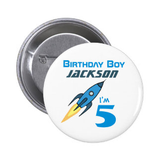 Blue Retro Rocketship Birthday Boy Personalized Button