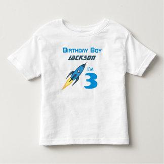Blue Retro Rocketship Birthday Boy Personalized Toddler T-shirt