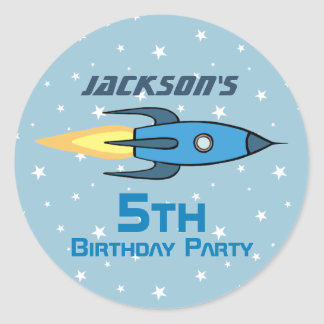 Blue Retro Rocketship Birthday Party Personalized Classic Round Sticker
