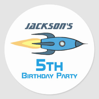 Blue Retro Rocketship Birthday Party Personalized Classic Round Sticker
