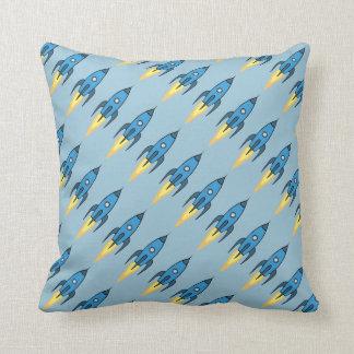 Blue Retro Rocketship Cartoon Design in Blue Throw Pillow