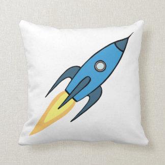 Blue Retro Rocketship Cartoon Design in White Throw Pillow
