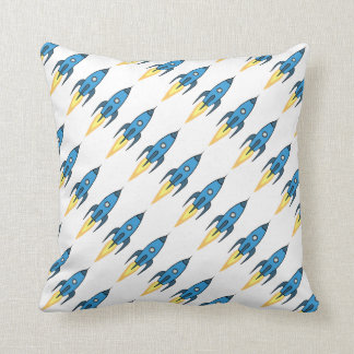 Blue Retro Rocketship Cartoon Design in White Throw Pillow