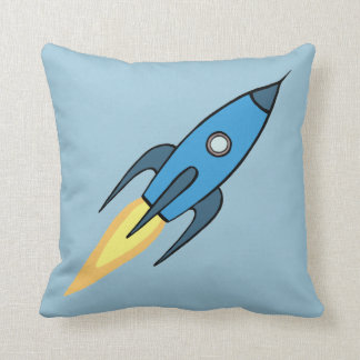 Blue Retro Rocketship Cartoon Design Throw Pillow