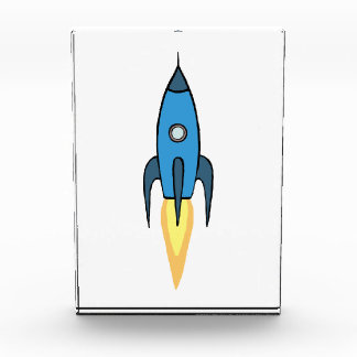 Blue Retro Rocketship Cute Cartoon Design Award