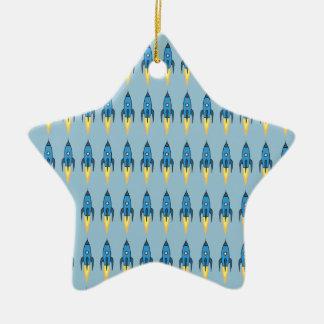 Blue Retro Rocketship Cute Cartoon Design Ceramic Ornament