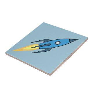 Blue Retro Rocketship Cute Cartoon Design Ceramic Tile