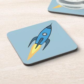 Blue Retro Rocketship Cute Cartoon Design Drink Coaster