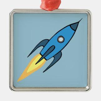 Blue Retro Rocketship Cute Cartoon Design Metal Ornament