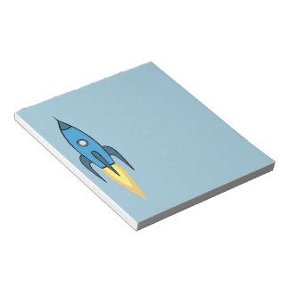 Blue Retro Rocketship Cute Cartoon Design Notepad