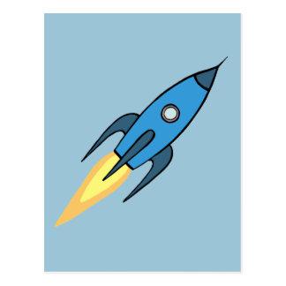 Blue Retro Rocketship Cute Cartoon Design Postcard