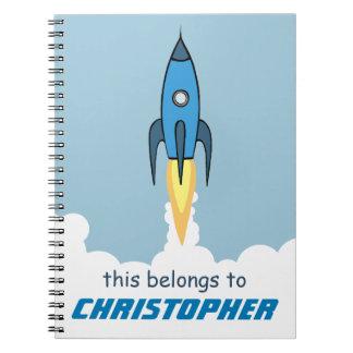 Blue Retro Rocketship Cute Cartoon Personalized Notebook