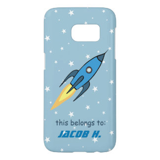 Blue Retro Rocketship Cute Personalized Kids Samsung Galaxy S7 Case