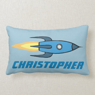 Blue Retro Rocketship Cute Personalized Name Lumbar Pillow