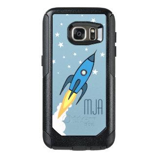 Blue Retro Rocketship Personalized Monogram Kids OtterBox Samsung Galaxy S7 Case