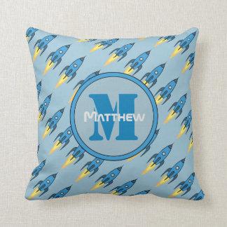Blue Retro Rocketship Personalized Monogram Throw Pillow