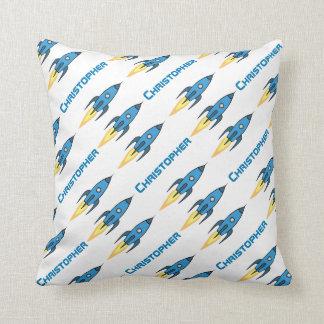 Blue Retro Rocketship Personalized Rocket Ship Throw Pillow