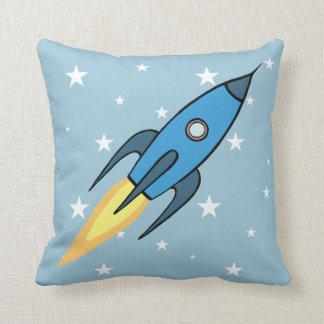 Blue Retro Rocketship & Stars Cartoon Design Throw Pillow