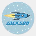 Blue Retro Rocketship & Stars Cute Personalized Classic Round Sticker