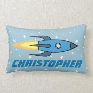 Blue Retro Rocketship & Stars Personalized Name Lumbar Pillow