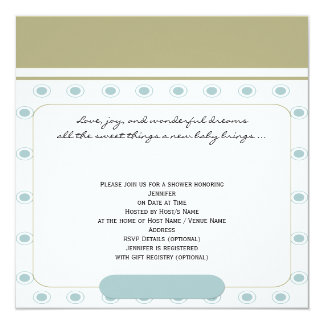 Blue Retro Rounded Corner Baby Boy Shower Card