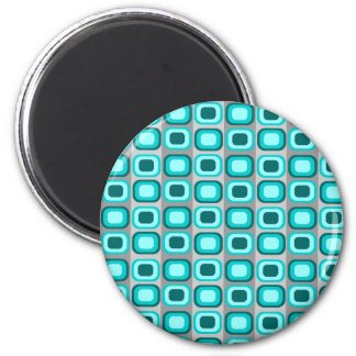 Blue Retro Squares Magnet