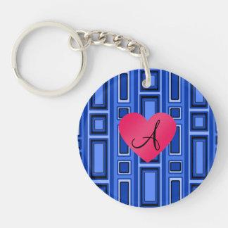 Blue Retro squares monogram Single-Sided Round Acrylic Keychain