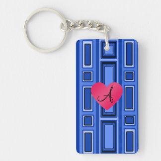 Blue Retro squares monogram Single-Sided Rectangular Acrylic Keychain