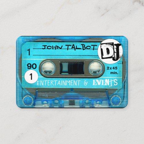 Blue Retro T4 Audiotape Cassette 80s DJ Business C Business Card