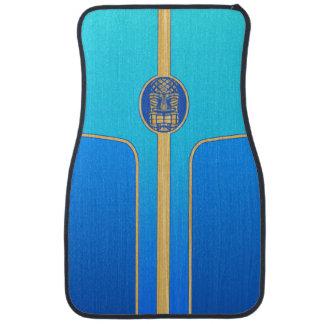 Blue Retro Tiki Surfboard Car Floor Mat