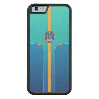 Blue Retro Tiki Surfboard Carved Maple iPhone 6 Bumper Case