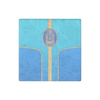Blue Retro Tiki Surfboard Stone Magnet