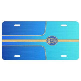 Blue Retro Tiki Surfboard License Plate