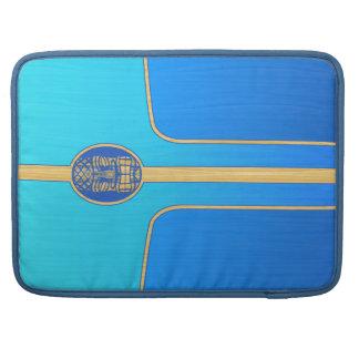 Blue Retro Tiki Surfboard Sleeves For MacBooks