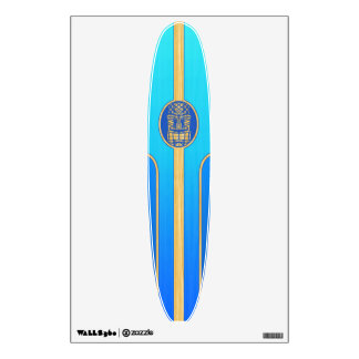 Blue Retro Tiki Surfboard Wall Graphic