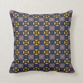 Blue Retro Tiles Throw Pillow